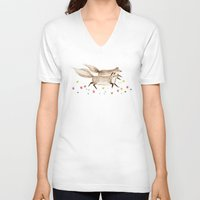 running V-neck T-shirts featuring Running Foxes by Sophie Corrigan