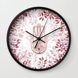 Modern burgundy faux rose gold Hamsa Hand of Fatima floral Wall Clock