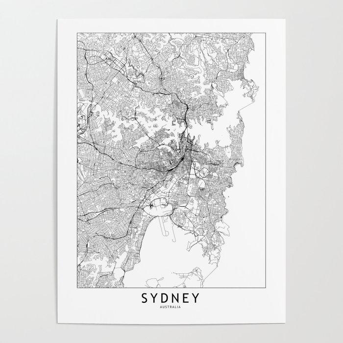 Sydney White Map Poster