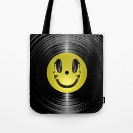 Vinyl headphone smiley Tote Bag