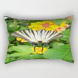 Scarce Swallowtail Feeding on Lantana Rectangular Pillow
