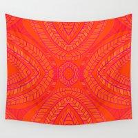 orange pattern Wall Tapestries featuring Orange Leaves Pattern by k_c_s