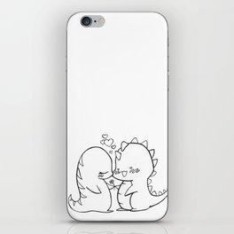 Dino Love Black and White iPhone Skin