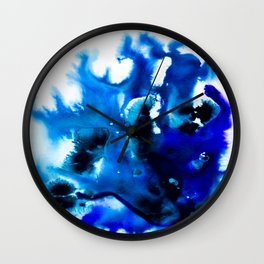 Paint 8 abstract indigo watercolor painting minimal modern canvas art affordable home decor trendy Wall Clock
