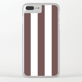 Rose ebony purple - solid color - white vertical lines pattern Clear iPhone Case