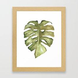 Monstera Leaf Brown Green Framed Art Print