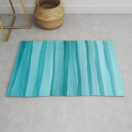 Teal Watercolor Lines Pattern Rug