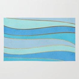 Waves Pattern - Golden Glitter Rug
