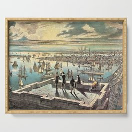 Vintage Currier & Ives New York Harbor Color Lithograph Wall Art Serving Tray