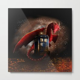Red Dragon And Phone Box Metal Print