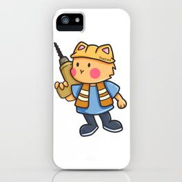 Cat drill Construction Hard Hat Children Gift iPhone Case