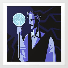 genius experiment with electricity Art Print