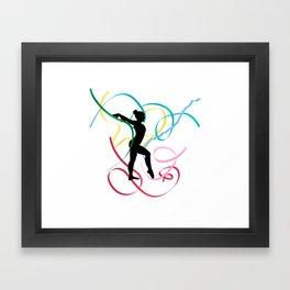Ribbon dancer on white Framed Art Print
