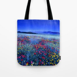 Spring poppies at blue hour Tote Bag