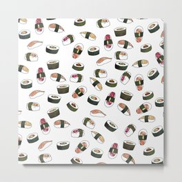 Sushi on White Metal Print