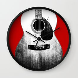 Guitar - Body, Red Background Wall Clock
