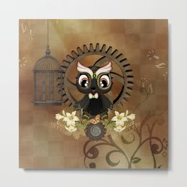 Little steampunk owl with flowers Metal Print