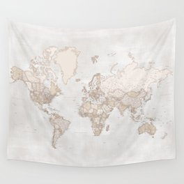 "Rustic and highly detailed world map with cities, square, ""Lucille"" Wall Tapestry"