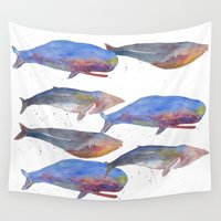 whales Wall Tapestries featuring Whales by Lene Daugaard