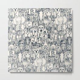 animal ABC indigo ivory Metal Print