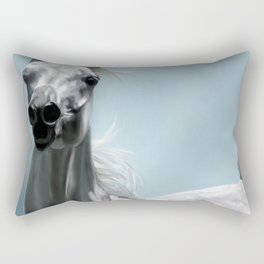 Arabian White Horse Painting Rectangular Pillow