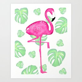 Pink Flamingo with Tropical Leaves Art Print