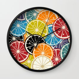 Lemon slice colored pattern Wall Clock