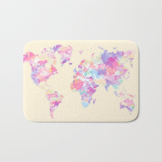 Watercolor Earth on Yellow Pastel (World Travel Wanderlust) Bath Mat