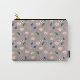 Baesic Floral Pattern (Navy & Blush) Carry-All Pouch