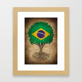 Vintage Tree of Life with Flag of Brazil Framed Art Print