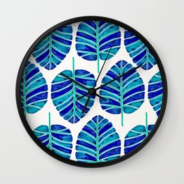 Elephant Ear Alocasia – Blue & Turquoise Palette Wall Clock