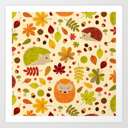 Hedghogs and Chestnuts Art Print