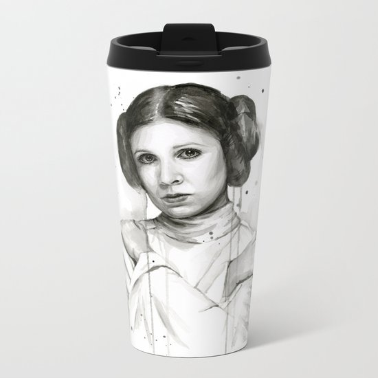 Princess Leia Watercolor Carrie Fisher Portrait Metal Travel Mug