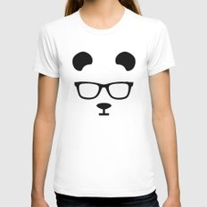 Nerd Panda Womens Fitted Tee White LARGE