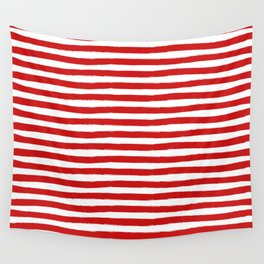 Red Horizontal Stripes Wall Tapestry