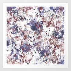 Red White Blue Watercolor Abstract Art Print