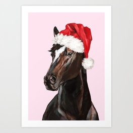 Christmas Horse in Pink Art Print