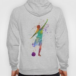 Woman soccer player 09 in watercolor Hoody