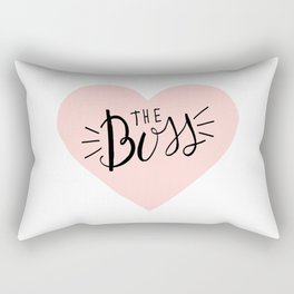 The Boss Pink Heart and Lettering Rectangular Pillow