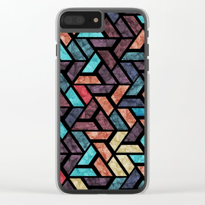 Seamless Colorful Geometric Pattern XV Clear iPhone Case