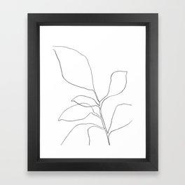 Six Leaf Plant - Minimalist Botanical Line Drawing Framed Art Print