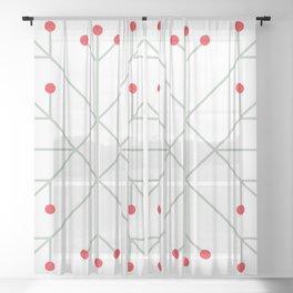 Mod Snowflake Winter Berries Sheer Curtain