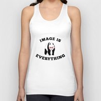 stickers Tank Tops featuring Panda Hipster by mailboxdisco