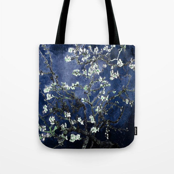 Vincent Van Gogh Almond Blossoms Dark Blue Tote Bag
