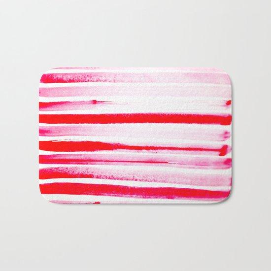 Christmas Candy Cane Red Stripe Bath Mat
