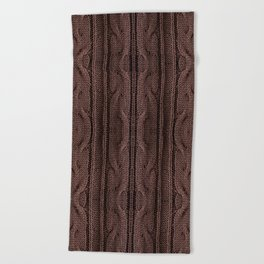 Brown braid jersey cloth texture abstract Beach Towel