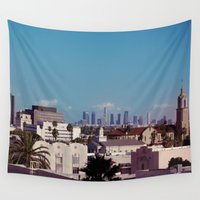 hollywood Wall Tapestries featuring Hollywood to Downtown Los Angeles by Amy J Smith Photography