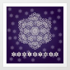 Christmas illustration with abstract decorative snowflakes and dark blue background. Art Print