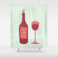 wine Shower Curtains featuring Wine by Cat Coquillette