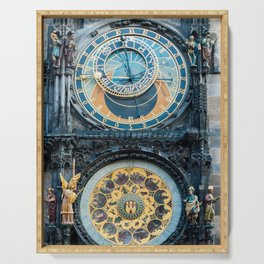 Closeup on Prague Astronomical Clock Serving Tray